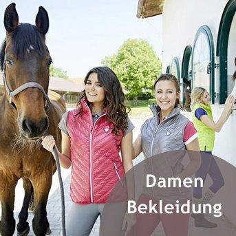 Schicke Reiterinnen mit Pferd